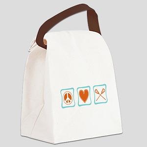 PeaceLoveLacrosseSquares Canvas Lunch Bag