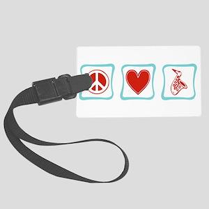 PeaceLoveSaxSquares Large Luggage Tag