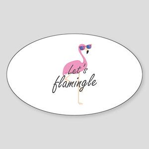 Let's Flamingle Sticker (Oval)