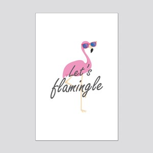 Let's Flamingle Mini Poster Print