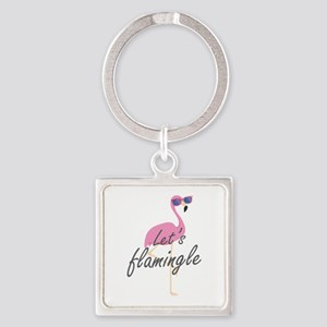Let's Flamingle Square Keychain