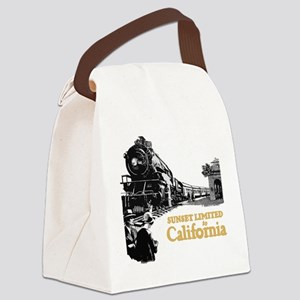 sunset train Canvas Lunch Bag