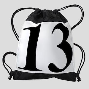 BIG 13 in black Drawstring Bag