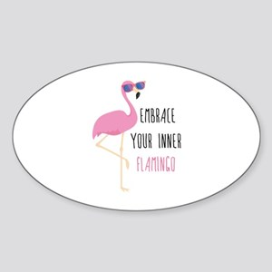 Embrace Your Inner Flamingo Sticker (Oval)