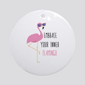 Embrace Your Inner Flamingo Ornament (Round)