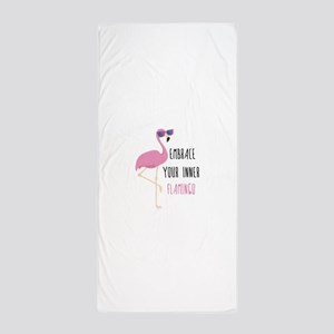 Embrace Your Inner Flamingo Beach Towel