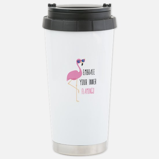 Embrace Your Inner Flamingo Ceramic Travel Mug