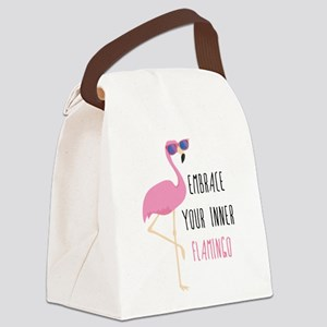 Embrace Your Inner Flamingo Canvas Lunch Bag