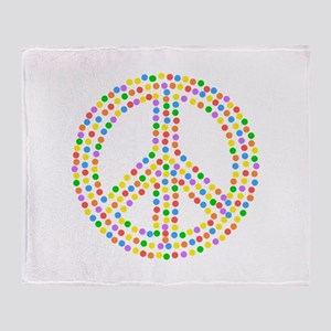 Colorful Dots Peace Sign Throw Blanket