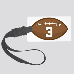 Football Player Number 3 Large Luggage Tag