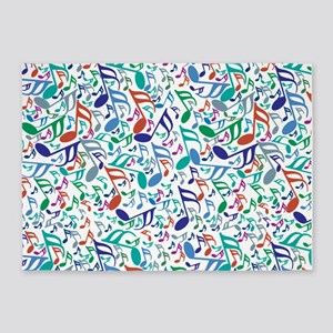 Colorful Music Notes 5'x7'Area Rug