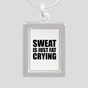 Sweat Is Just Fat Crying Silver Portrait Necklace