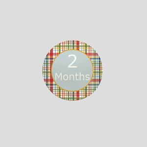 2 Month Plaid Milestone Mini Button