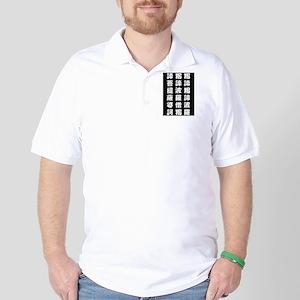 HEART SUTRA Art (POP Font) White on Black Golf Shi
