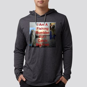 Fishing Bumbler Catches Big Fish Mens Hooded Shirt