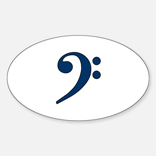 Dark Blue Bass Clef Oval Decal