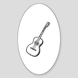 Antique Woodcut Guitar Oval Sticker