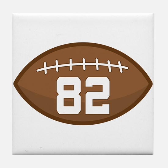Football Player Number 82 Tile Coaster