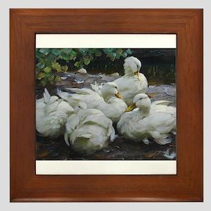 Flock of White Ducks Framed Tile