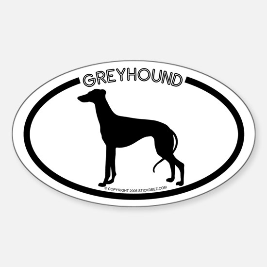 """Greyhound"" White Oval Decal"
