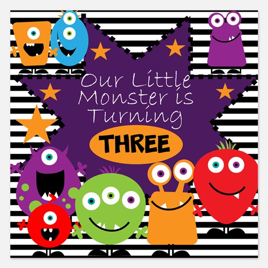 Little Monster Birthday 5.25 x 5.25 Flat Cards