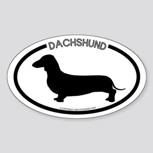 """Dachshund"" White Oval Sticker"