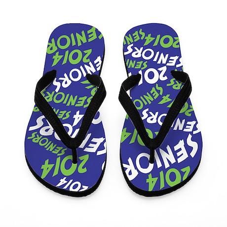 Green and Blue Senior Class OF 2014 Flip Flops