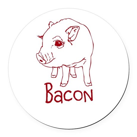 Bacon Pig Round Car Magnet