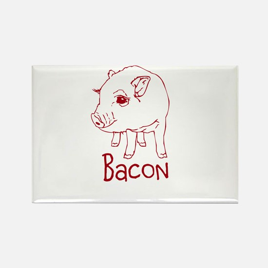 Bacon Pig Rectangle Magnet