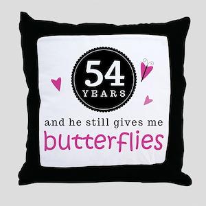 54th Anniversary Butterflies Throw Pillow