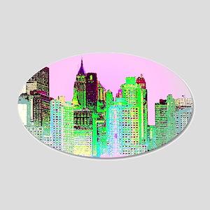 NYC SKYLINE 20x12 Oval Wall Decal