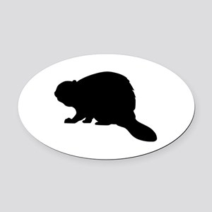 Beaver Oval Car Magnet
