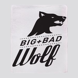 B&W Big Bad Wolf Throw Blanket