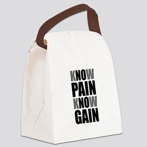 Know Pain Gain Canvas Lunch Bag