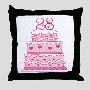 28th Anniversary Cake Throw Pillow