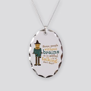 Scarecrow Brains Quote Necklace Oval Charm