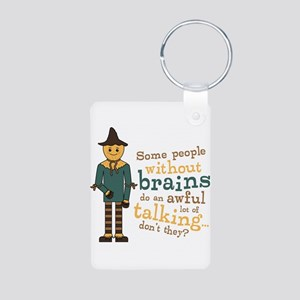 Scarecrow Brains Quote Aluminum Photo Keychain