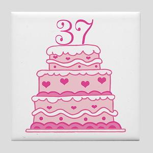 37th Anniversary Cake Tile Coaster