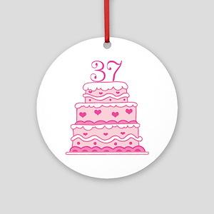 37th Anniversary Cake Ornament (Round)