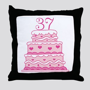 37th Anniversary Cake Throw Pillow