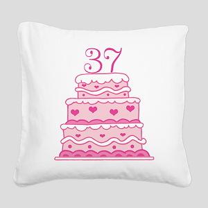 37th Anniversary Cake Square Canvas Pillow