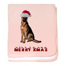 German Shepherd Christmas baby blanket