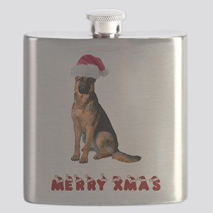 German Shepherd Christmas Flask
