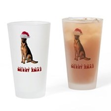 German Shepherd Christmas Drinking Glass