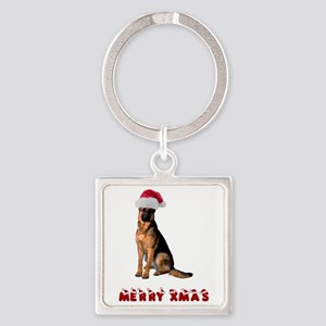 German Shepherd Christmas Square Keychain