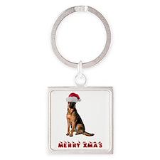 German Shepherd Christmas Square Keychain