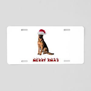 German Shepherd Christmas Aluminum License Plate