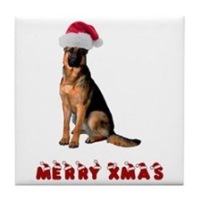 German Shepherd Christmas Tile Coaster