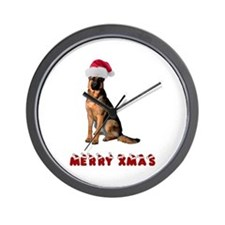German Shepherd Christmas Wall Clock