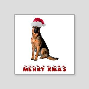 "German Shepherd Christmas Square Sticker 3"" x 3"""